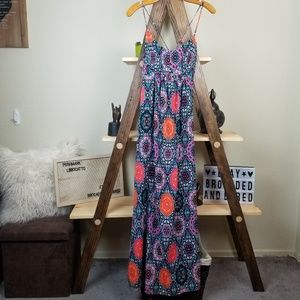 Used, Love Fire | Black Orange Strappy Maxi Sundress for sale